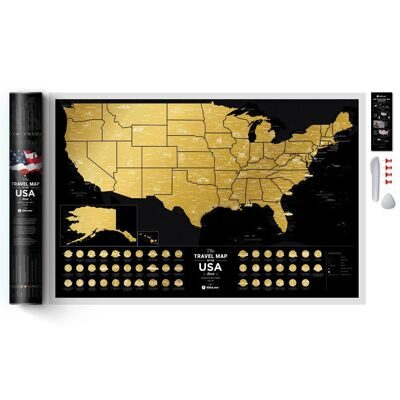 Карта Travel Map USA Black